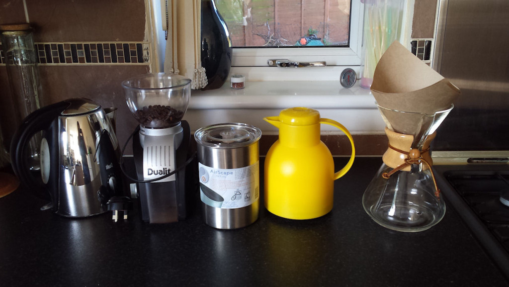 Coffee, kettle, vacuum flask, chemex